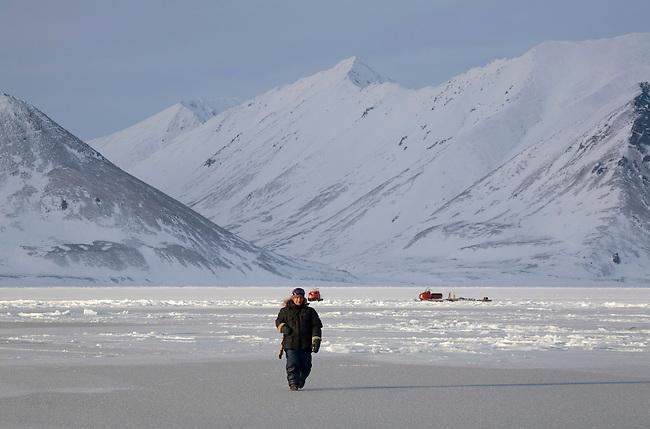 Max Agnagisyak, a Yupik Eskimo, out seal hunting at the floe edge in Tkachen Bay. Chukotskiy Peninsula, Chukotka, Siberia, Russia