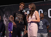 """LAS VEGAS - JUNE 22:  Jermell Charlo and Heidi Androl at Fox Sports """"PBC on Fox Fight Night"""" Weigh-In at Mandalay Bay Resort & Casino on June 22, 2019 in Las Vegas, Nevada. (Photo by Frank Micelotta/Fox/PictureGroup)"""