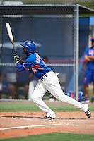 GCL Mets outfielder Luis Crisostomo (4) at bat during the first game of a doubleheader against the GCL Marlins on July 24, 2015 at the St. Lucie Sports Complex in St. Lucie, Florida.  GCL Marlins defeated the GCL Mets 5-4.  (Mike Janes/Four Seam Images)
