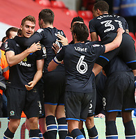Blackburn Rovers' Tommie Hoban (left) celebrates scoring the only goal of the match<br /> <br /> Photographer Stephen White/CameraSport<br /> <br /> The EFL Sky Bet Championship - Nottingham Forest v Blackburn Rovers - Friday 14th April 2016 - The City Ground - Nottingham<br /> <br /> World Copyright &copy; 2017 CameraSport. All rights reserved. 43 Linden Ave. Countesthorpe. Leicester. England. LE8 5PG - Tel: +44 (0) 116 277 4147 - admin@camerasport.com - www.camerasport.com