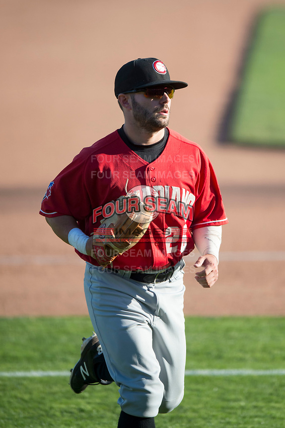 Vancouver Canadians center fielder Hunter Steinmetz (26) jogs off the field between innings of a Northwest League game against the Spokane Indians at Avista Stadium on September 2, 2018 in Spokane, Washington. The Spokane Indians defeated the Vancouver Canadians by a score of 3-1. (Zachary Lucy/Four Seam Images)
