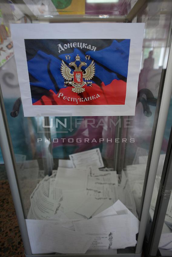 Transparent ballot boxes in a polling station. Donetsk region and Lugansk vote for separation of the Eastern Ukraine. Donetsk, Ukraine.
