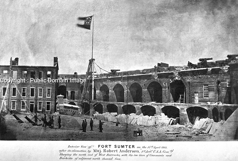Interior view of Fort Sumter on the 14th April 1861, after its evacuation by Maj. Robert Anderson, 1st Arty. U.S.A. Comdg. (Public Buildings Service)<br /> NARA FILE#:  121-BA-914A<br /> WAR & CONFLICT BOOK #:  159