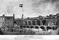 Interior view of Fort Sumter on the 14th April 1861, after its evacuation by Maj. Robert Anderson, 1st Arty. U.S.A. Comdg. (Public Buildings Service)<br /> NARA FILE#:  121-BA-914A<br /> WAR &amp; CONFLICT BOOK #:  159