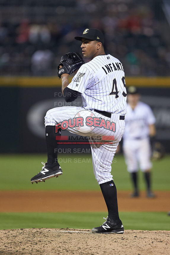 Charlotte Knights relief pitcher Gregory Infante (45) in action against the Indianapolis Indians at BB&T BallPark on May 26, 2018 in Charlotte, North Carolina. The Indians defeated the Knights 6-2.  (Brian Westerholt/Four Seam Images)