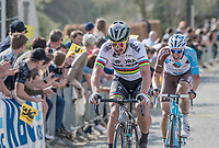 Peter Sagan (SVK/Bora-Hansgrohe)<br />  & Oliver Naesen (BEL/AG2R-LaMondiale) in pursuit up the Taaienberg<br /> <br /> 101th Ronde Van Vlaanderen 2017 (1.UWT)<br /> 1day race: Antwerp › Oudenaarde - BEL (260km)