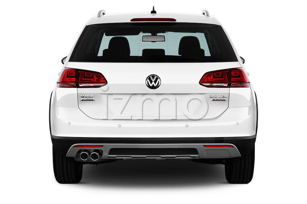 Straight rear view of 2015 Volkswagen Golf Alltrack 5 Door Wagon Rear View  stock images