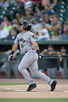 Left fielder Diego Rincones (16) of the Augusta GreenJackets bats in a game against the Columbia Fireflies on Friday, May 31, 2019, at Segra Park in Columbia, South Carolina. Augusta won, 8-6. (Tom Priddy/Four Seam Images)