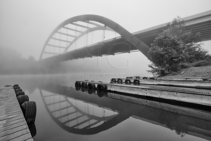 The boat ramp at the 360 Bridge near Austin, Texas is shrouded in fog on a cool November morning.