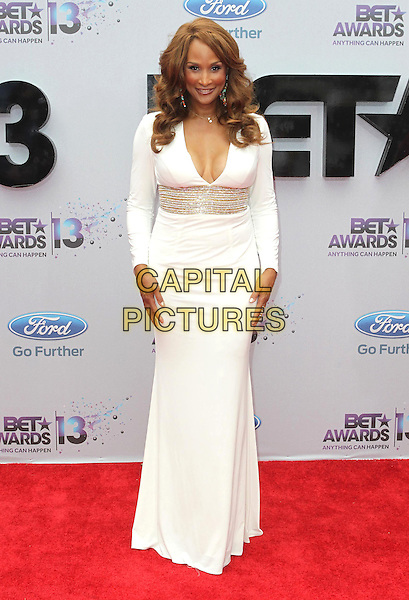 Beverly Johnson<br /> 2013 BET Awards held at Nokia Theatre L.A. Live, Los Angeles, California, USA.<br /> June 30th, 2013<br /> full length white dress silver belt low cut neckline cleavage <br /> CAP/ADM/KB<br /> &copy;Kevan Brooks/AdMedia/Capital Pictures