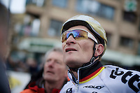 André Greipel (DEU/Lotto-Soudal) awaits the jury verdict (on the score board) as he & Alexander Kristoff (NOR/Katusha) came within millimeters while crossing the finish line<br /> <br /> 3 Days of De Panne 2015<br /> stage 3a: De Panne-De Panne