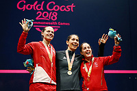 Joelle King of New Zealand with gold, Sarah-Jane Perry of England with silver and Tesni Evans of Wales with bronze in the Women's Singles Final. Gold Coast 2018 Commonwealth Games, Squash, Oxenford Studios, Gold Coast, Australia. 9 April 2018 © Copyright Photo: Anthony Au-Yeung / www.photosport.nz /SWpix.com