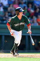 Third baseman Jimmy Rider (5) of the Greenville Drive in a game against the Savannah Sand Gnats on Sunday, June 22, 2014, at Fluor Field at the West End in Greenville, South Carolina. Greenville won, 7-3. (Tom Priddy/Four Seam Images)