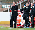 Stirling Albion Manager Stuart McLaren and  Assistant Manager Martyn Corrigan (right) watch as their team slide closer to relegation.