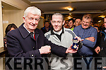 Better Late Than Never - Paddy Fogarty President of the South Kerry Board presents Alan Sigerson from Ballinskelligs with his U16 County Championship medal from 1996 in Cable O'Leary's Bar on Sunday night.