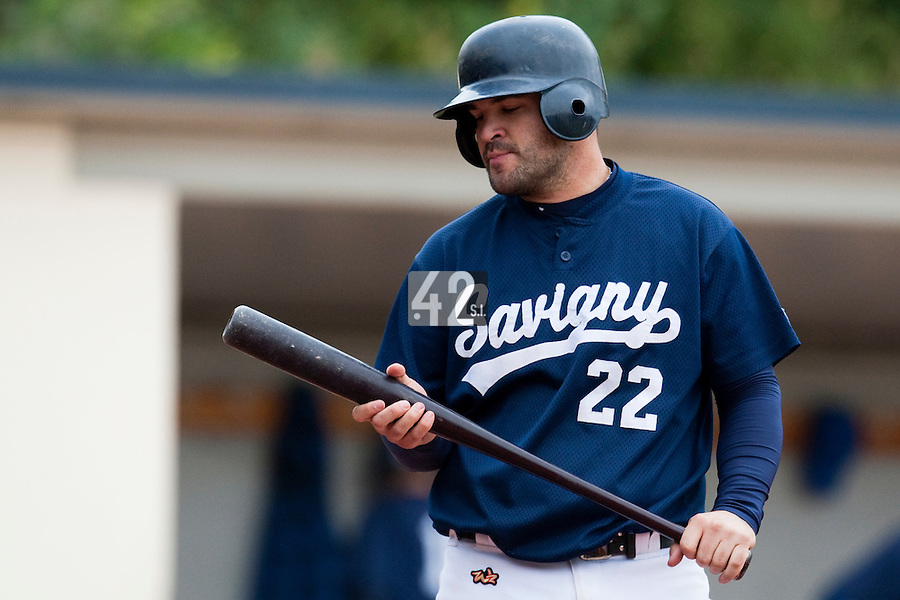 03 october 2009: Vincent Ferreira of Savigny looks dejected as he is seen at bat during game 1 of the 2009 French Elite Finals won 6-5 by Rouen over Savigny in the 11th inning, at Stade Pierre Rolland stadium in Rouen, France.