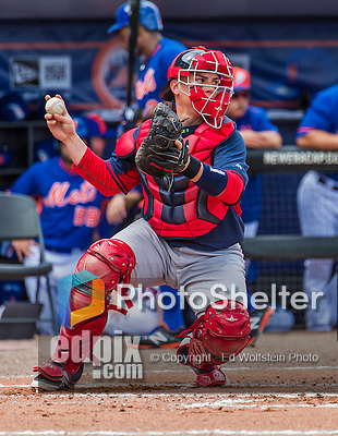 8 March 2015: Boston Red Sox catcher Christian Vazquez in Spring Training action against the New York Mets at Tradition Field in Port St. Lucie, Florida. The Mets fell to the Red Sox 6-3 in Grapefruit League play. Mandatory Credit: Ed Wolfstein Photo *** RAW (NEF) Image File Available ***