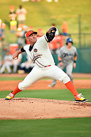 Northern Divisions pitcher Ryan Lillie (31) of the Greensboro Grasshoppers delivers a pitch during the South Atlantic League All Star Game at First National Bank Field on June 19, 2018 in Greensboro, North Carolina. The game Southern Division defeated the Northern Division 9-5. (Tony Farlow/Four Seam Images)