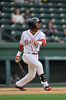 Second baseman Luis Alejandro Basabe (5) of the Greenville Drive bats in a game against the Charleston RiverDogs on Tuesday, May 17, 2016, at Fluor Field at the West End in Greenville, South Carolina. Greenville won, 4-2. (Tom Priddy/Four Seam Images)