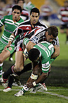 Siale Puitau wraps up his opposite Simeli Tuiteci during the Air New Zealand rugby game between Counties Manukau Steelers & Manawatu, played at Mt Smart Stadium on the 22nd of September 2006. Counties Manukau 25 - Manawatu 25.