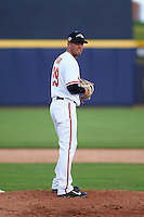 Peoria Javelinas pitcher Donnie Hart (29) gets ready to deliver a pitch during an Arizona Fall League game against the Mesa Solar Sox on October 21, 2015 at Peoria Stadium in Peoria, Arizona.  Peoria defeated Mesa 5-3.  (Mike Janes/Four Seam Images)