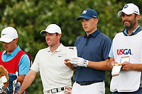 Rory McIlroy (NIR) talks with Jordan Spieth (USA) while waiting on the 15th tee during the second round of the 118th U.S. Open Championship at Shinnecock Hills Golf Club in Southampton, NY, USA. 15th June 2018.<br /> Picture: Golffile | Brian Spurlock<br /> <br /> <br /> All photo usage must carry mandatory copyright credit (&copy; Golffile | Brian Spurlock)