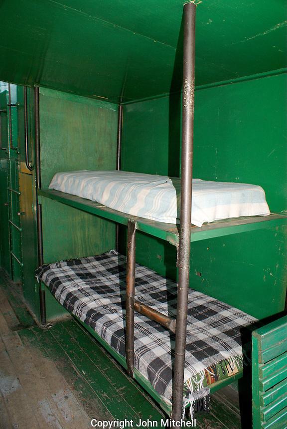 Worker bunk beds, interior of a train caboose, Museo Nacional de los Ferrocarriles Mexicanos or National Railway Museum in the city of Puebla, Mexico