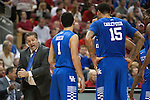Head coach John Calipari of the Kentucky Wildcats yells directions at his team during the game against  the Louisville Cardinals at KFC Yum! Center on Saturday, December 27, 2014 in Louisville `, Ky. Kentucky defeated Louisville 58-50. Photo by Michael Reaves | Staff