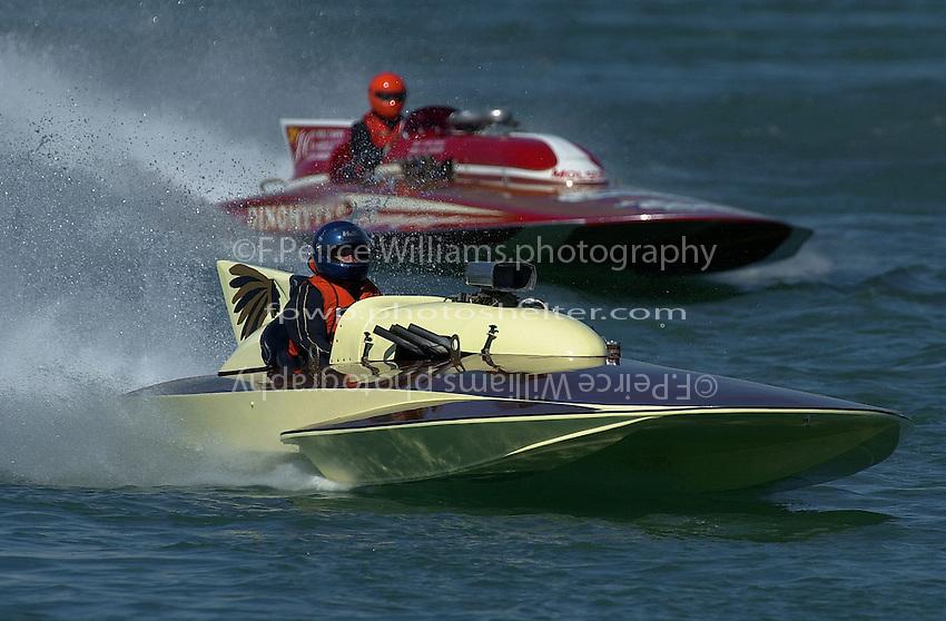 "F-222 ""Opechee"", 1965 Hallett 266 class hydroplane and GP-1001 ""Miss Dinomytes"" 1986 Grand Prix class Lauterbach hydroplane"