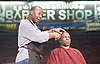 Barbershop Chronicles <br /> A co-production with Fuel &amp; West Yorkshire Playhouse<br /> by Inua Ellams<br /> at the Dorfman Theatre, National Theatre, London, Great Britain <br /> Press photocall <br /> 6th June 2017 <br /> <br /> Abdul Salis <br /> as Kwame <br /> <br /> Cyril Nri <br /> as Emmanuel <br /> <br /> <br /> <br /> <br /> <br /> <br /> Photograph by Elliott Franks <br /> Image licensed to Elliott Franks Photography Services