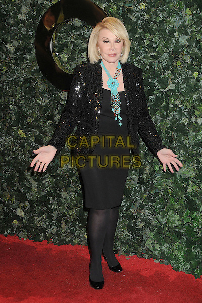 JOAN RIVERS.QVC Red Carpet Style Party held at the Four Seasons Hotel, Beverly Hills, California, USA..February 25th, 2011.full length black dress jacket sequins sequined blue turquoise necklace hands .CAP/ADM/BP.©Byron Purvis/AdMedia/Capital Pictures.