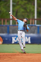 Tampa Bay Rays Taylor Walls (9) throws to first base during a Florida Instructional League game against the Baltimore Orioles on October 1, 2018 at the Charlotte Sports Park in Port Charlotte, Florida.  (Mike Janes/Four Seam Images)