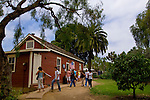Tourists at the Mason Street School (est. 1865) Museum, Old Town San Diego State Historic Park, San Diego, California