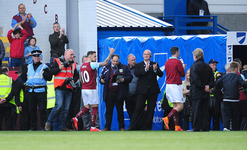 Burnley's Danny Ings applauds the fans as the team do a lap of appreciation after the game<br /> <br /> Photographer Chris Vaughan/CameraSport<br /> <br /> Football - Barclays Premiership - Burnley v Stoke City - Saturday 16th May 2015 - Turf Moor - Burnley<br /> <br /> &copy; CameraSport - 43 Linden Ave. Countesthorpe. Leicester. England. LE8 5PG - Tel: +44 (0) 116 277 4147 - admin@camerasport.com - www.camerasport.com