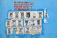 Leaflets pasted on a wall showing portraits of some of the 46,000 people forcibly disappeared through the actions of state forces in the early 1980's. The stencil declares 'The Genocide in Guatemala today must be judged'. Guatemala City, Guatemala August 2011.