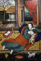 """Mughal India:  """"Madonna and Child"""", 1599-1600.  European influences--the text vague on this."""