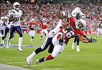 Aug. 22, 2009; Glendale, AZ, USA; Arizona Cardinals running back (36) LaRod Stephens-Howling is tackled by San Diego Chargers cornerback (20) Antoine Cason on the opening kickoff during a preseason game at University of Phoenix Stadium. Mandatory Credit: Mark J. Rebilas-