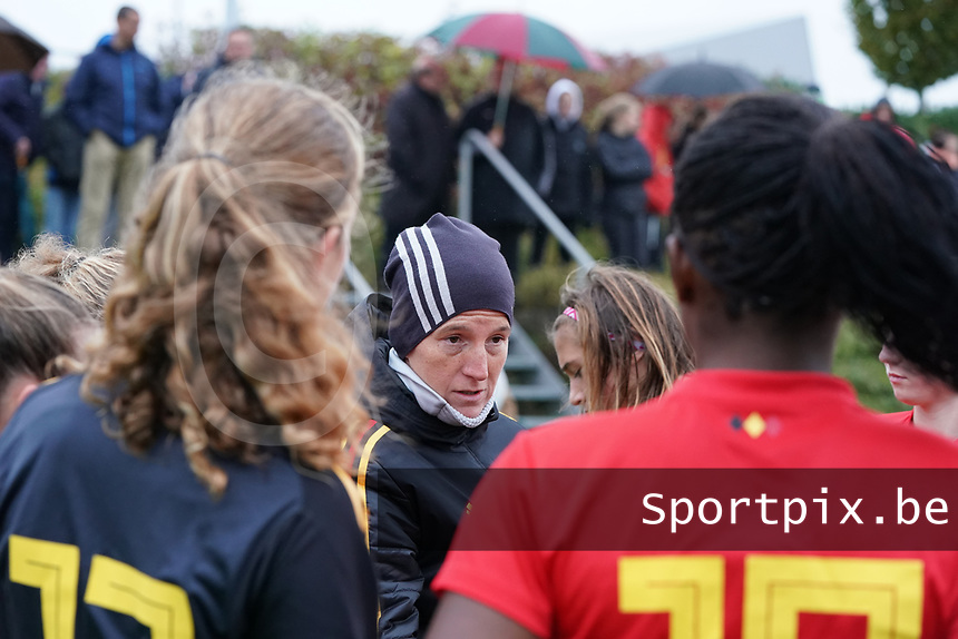 20191101 - Tubize: Belgian coach Aline Zeler  pictured during the international friendly match between Red Flames U16 (Belgium) and Norway U16 on 1 November 2019 at Belgian Football Centre, Tubize. PHOTO:  SPORTPIX.BE | SEVIL OKTEM
