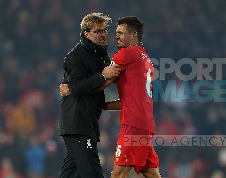Jurgen Klopp manager of Liverpool celebrates with Dejan Lovren of Liverpool during the Premier League match at the Anfield Stadium, Liverpool. Picture date: November 26th, 2016. Pic Simon Bellis/Sportimage