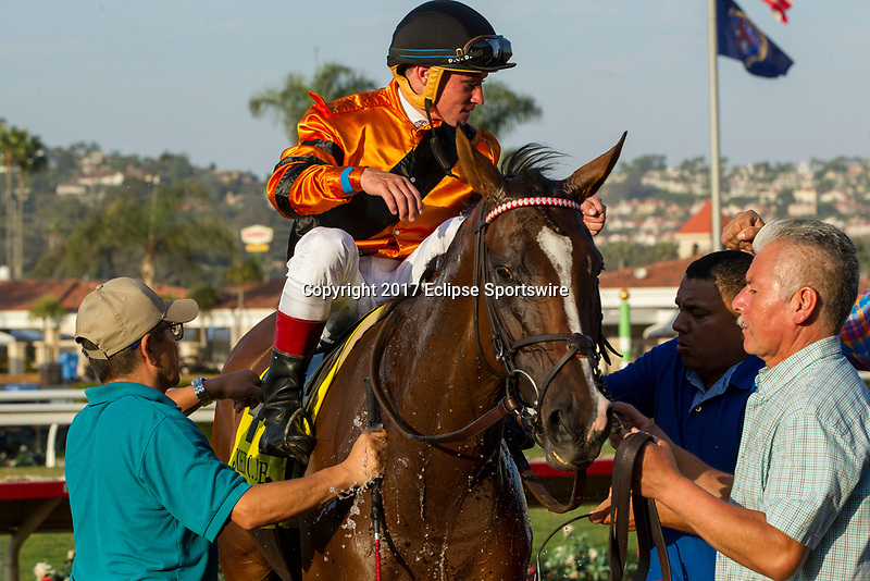 DEL MAR, CA. SEPTEMBER 2:  #4 Cambodia ridden by Drayden Van Dyke, returns to the connections after winning the John C. Mabee Stakes (Grade ll) on September 2, 2017, at Del Mar Thoroughbred Club in Del Mar, CA.(Photo by Casey Phillips/Eclipse Sportswire/Getty )