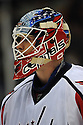 Dec 16, 2008; Uniondale, NY, USA; Washington Capitals goaltender Brent Johnson (1) during game against the New York Islanders at the Nassau Coliseum.Capitals won 5-4 in OT. Mandatory Credit: Tomasso DeRosa/SportPics