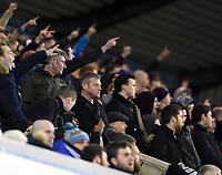 Preston supporters cheering their team<br /> <br /> Photographer Jon Hobley/CameraSport<br /> <br /> The EFL Sky Bet Championship - Millwall v Preston North End - Saturday 13th January 2018 - The Den - London<br /> <br /> World Copyright &copy; 2018 CameraSport. All rights reserved. 43 Linden Ave. Countesthorpe. Leicester. England. LE8 5PG - Tel: +44 (0) 116 277 4147 - admin@camerasport.com - www.camerasport.com