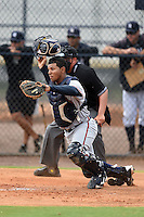 GCL Braves catcher Carlos Martinez (57) during a game against the GCL Yankees 2 on June 23, 2014 at the Yankees Minor League Complex in Tampa, Florida.  GCL Yankees 2 defeated the GCL Braves 12-4.  (Mike Janes/Four Seam Images)