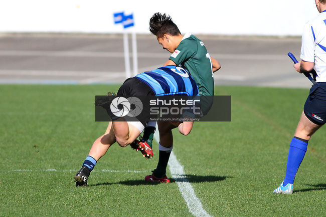 NELSON, NEW ZEALAND - JUNE 13:  UC Championship match between Nelson College and Burnside High School at Trafalgar  Park on June 13, 2015 in Nelson, New Zealand. (Photo by Marc Palmano/Shuttersport Limited)