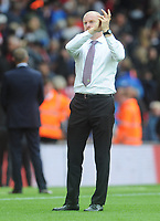 Burnley manager Sean Dyche applauds his sides fans<br /> <br /> Photographer Kevin Barnes/CameraSport<br /> <br /> The Premier League - Southampton v Burnley - Sunday August 12th 2018 - St Mary's Stadium - Southampton<br /> <br /> World Copyright &copy; 2018 CameraSport. All rights reserved. 43 Linden Ave. Countesthorpe. Leicester. England. LE8 5PG - Tel: +44 (0) 116 277 4147 - admin@camerasport.com - www.camerasport.com