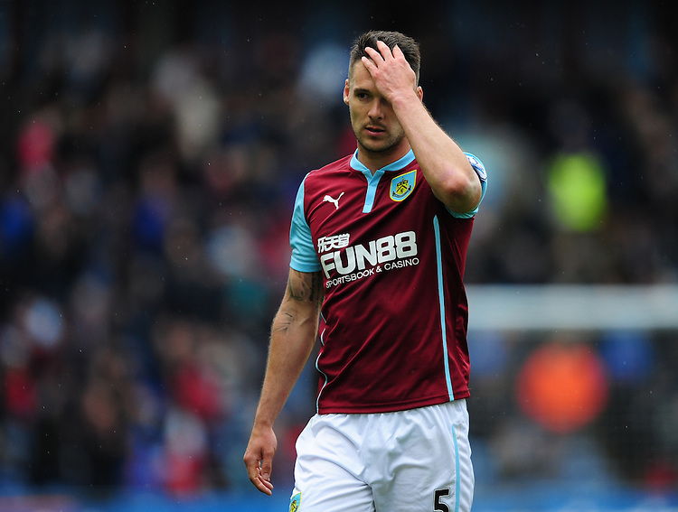 Burnley's Jason Shackell walks off the pitch at half time<br /> <br /> Photographer Chris Vaughan/CameraSport<br /> <br /> Football - Barclays Premiership - Burnley v Leicester City - Saturday 25th April 2015 - Turf Moor - Burnley<br /> <br /> &copy; CameraSport - 43 Linden Ave. Countesthorpe. Leicester. England. LE8 5PG - Tel: +44 (0) 116 277 4147 - admin@camerasport.com - www.camerasport.com