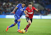 31st October 2017, Cardiff City Stadium, Cardiff, Wales; EFL Championship football, Cardiff City versus Ipswich Town; Nathaniel Mendez-Laing of Cardiff City uses his strength to beat Jonas Knudsen of Ipswich Town on the attack