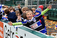 A young Bath supporter shows off. Bath Rugby Captain's Run on October 30, 2015 at the Recreation Ground in Bath, England. Photo by: Patrick Khachfe / Onside Images