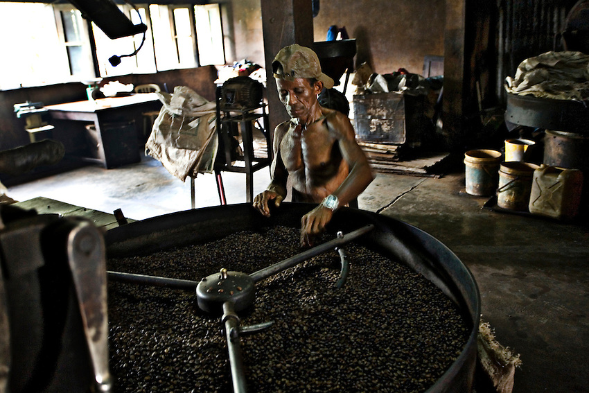 An East Timorese worker checks roasted coffee beans in Dili, East Timor, January 9, 2010. Other than coffee, East Timor has almost no local industry and relies heavily on revenues generated from the country's $5 billion oil fund.