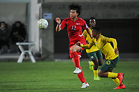 20190301 - LARNACA , CYPRUS : North Korean midfielder Kim Yun-mi (left) and South African midfielder Refiloe Jane (right) pictured during a women's soccer game between South Africa and Korea DPR , on Friday 1 March 2019 at the AEK Arena in Larnaca , Cyprus . This is the second game in group A for Both teams during the Cyprus Womens Cup 2019 , a prestigious women soccer tournament as a preparation on the Uefa Women's Euro 2021 qualification duels. PHOTO SPORTPIX.BE   STIJN AUDOOREN